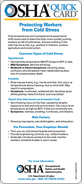 Cold Stress - Quickcard screen capture