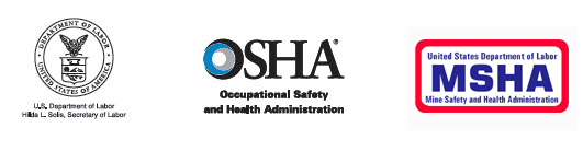 U.S. Department of Labor - Hilda L. Solis, Secretary of Labor - OSHA - Occupational Safety and Health Administration - Department of Health and Human Services - USA - MSHA - Mine Safety and Health Administration Logos
