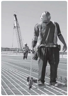 worker tying rebar standing up instead of stooping over