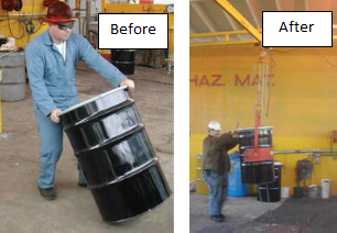 before - worker not using a drum mover - after - worker using a drum mover
