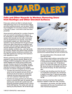 Falls and Other Hazards to Workers Removing Snow from Rooftops and Other Elevated Surfaces - Hazard Alert screen capture