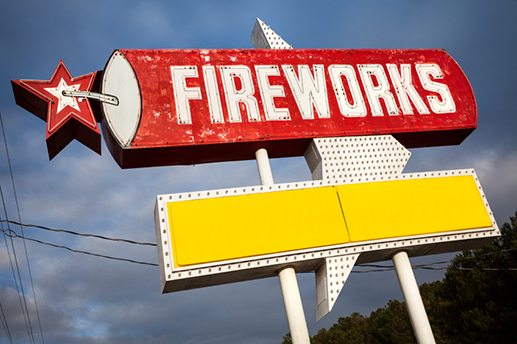 Photo Credit: iStock | Fireworks sign