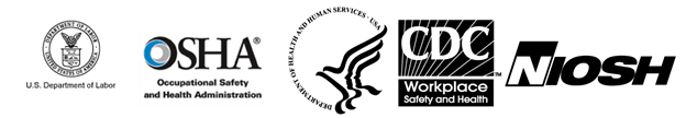U.S. Department of Labor - OSHA - Occupational Safety and Health Administration - Department of Health and Human Services - USA - CDC - Workplace Safety and Health - NIOSH Logos