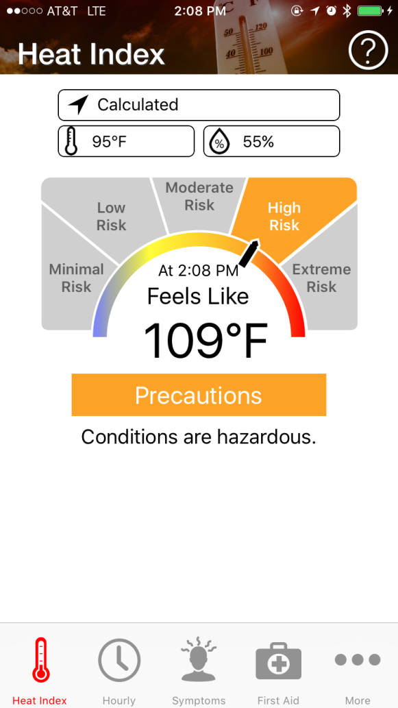 OSHA Heat Safety App Example Screen