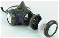 NIOSH-approved N95 filtering facepiece (top) and elastomeric (bottom) half-face respirators can be used only if silica concentrations are less than 10 times the PEL.