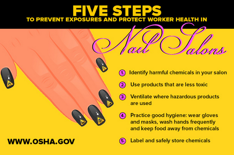 Five Steps to Prevent Exposures and Protect Worker Health In - 1) Identify harmful chemicals in your salon 2) Use products that are less toxic 3) Ventilate where hazardous products are used 4) Practice good hygiene: wear gloves and masks, wash hands frequently and keep food away from chemicals 4) Label and safely store chemicals