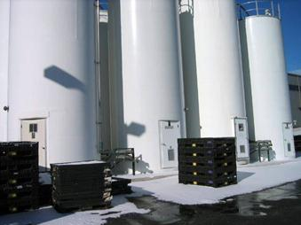 Storage silos 12 feet in diameter 40 feet high with access door at