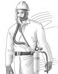 Full Facepiece Supplied-Air Respirator (SAR) with an auxiliary Escape Bottle