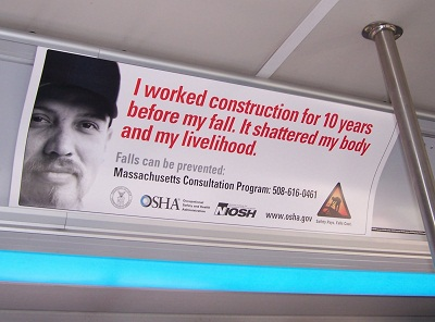 Fall prevention poster displayed in Massachusetts public transit.