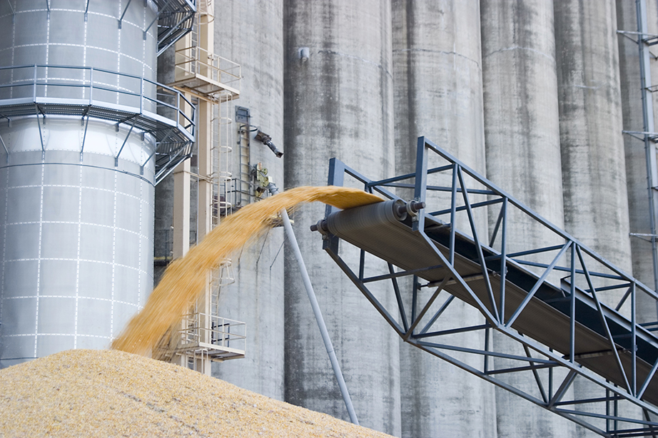 Image of corn being piled by a silo | Photo: National Grain and Feed Association