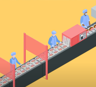 Illustration of workers on an assembly line