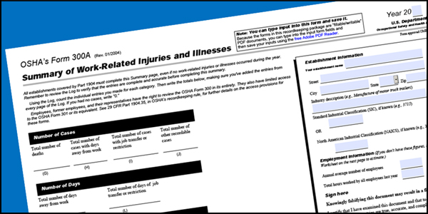 Image of OSHA Form 300A - Summary of Work-Related Injuries and Illnesses