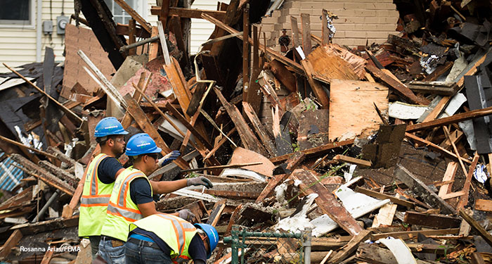 OSHA has resources to help employers keep their workers safe during hurricane cleanup and recovery operations | Photo credit: Rosanna Arias/FEMA