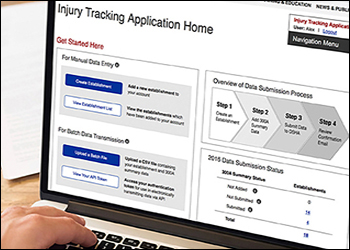 Image of OSHA's Injury Tracking Application on a computer screen