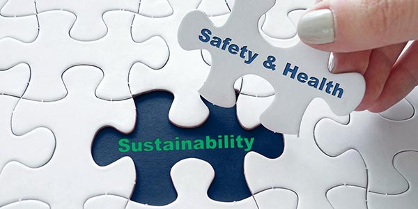 Puzzle piece saying Safety and Health and the hole for it says Sustainability