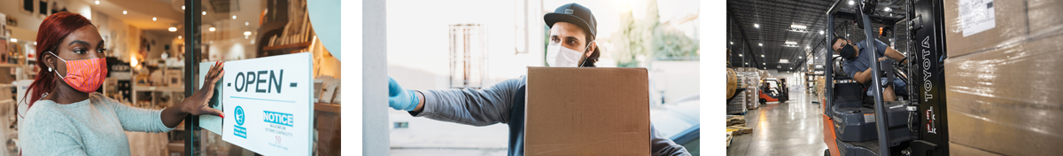 Photographs of warehouse workers | Credit: OSHA, sturti | iStock-659212112, manonallard | iStock-1091151414