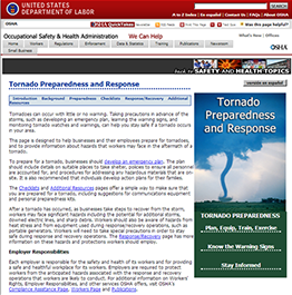 Tornado Preparedness and Response Web page
