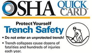 Protect Yourself Trench Safety. Do not enter an unprotected trench! Trench collapses cause dozens of fatalities and hundreds of injuries each year.