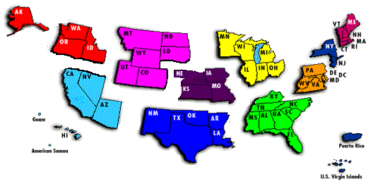 OSHA Regional Map Graphic