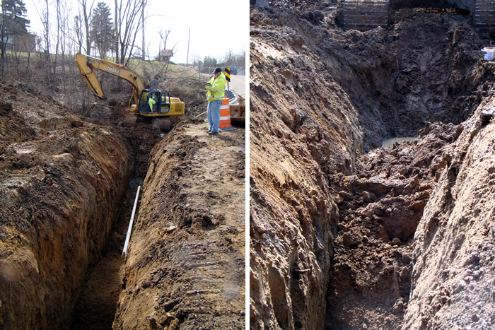 Workers were ordered out of the trench (left) just moments before a portion collapsed (right), avoiding possible injury or loss of life. For problems with accessibility in using figures and illustrations, please contact the DOC at 202-693-2020.