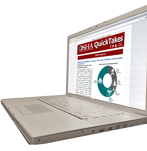 Image of a notebook computer showing an example OSHA QuickTakes page