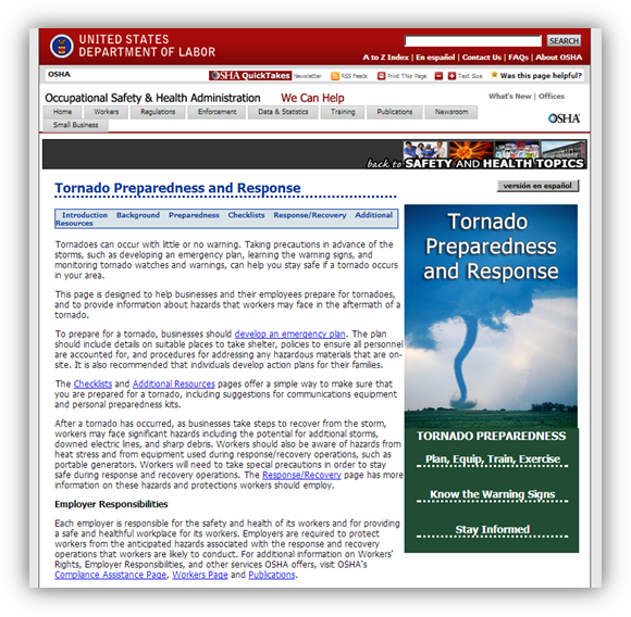 Tornado Preparedness and Response