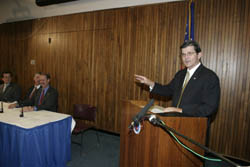 OSHA's then-Assistant Secretary, John Henshaw; welcomes the members of the Roadway Work Zone Safety and Health Coalition to the November 18, 2003 Alliance signing.
