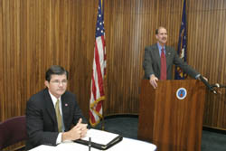 John Howard, Director of NIOSH, speaks during the signing of the Roadway Work Zone Safety and Health Coalition Alliance on November 18, 2003.