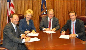 (L to R) Pete Diakun, NSRP Executive Control Board Member; Cynthia Brown, then-President, ASA; Jordan Barab, Deputy Assistant Secretary, USDOL-OSHA; and Ian Bennitt, Manager, Government Affairs, SCA; at the OSHA and Shipbuilding Group National Alliance signing on September 14, 2010.