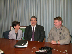 Cynthia Mills (President, TCIA), David Marren (Director of Regulatory Affairs, Bartlett Tree Research Laboratories), and Patrick Kapust (Safety and Occupational Health Specialist, OSHA) during an implementation team meeting.