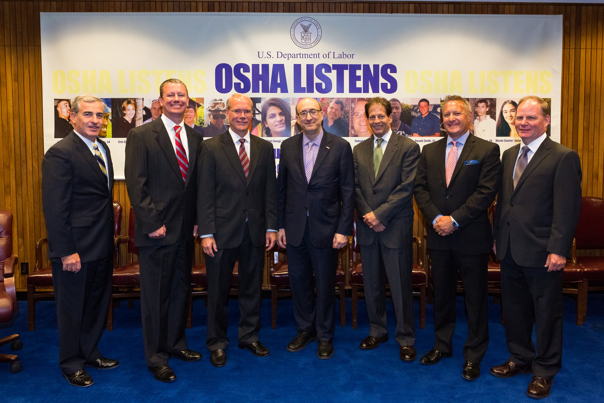 Then-Assistant Secretary Dr. David Michaels, USDOL-OSHA (center) with representatives of the Industrial Truck Association on June 13, 2016.
