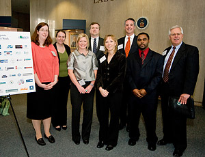 (L to R) Melissa Low,  Michaela Rydstrom,  Robin Crawford,  David Hicks,  Karen Orso, Patrick Voight, Kevin Cannon,  and Bill O'Connell, attended the 2008 NAOSH Week Kick-off event on May 5, 2008 at the Department of Labor.