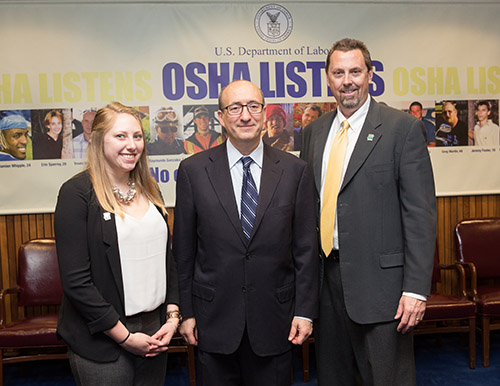 (L to R): Katherine Henmueller, CCAR Manager of Operations, then-Assistant Secretary Dr. David Michaels, and Charles Ayers, CCAR President, at the Alliance renewal ceremony on May 12, 2015.