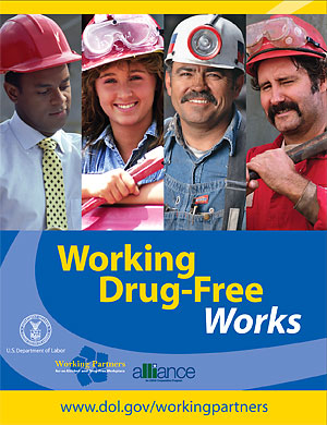 A Working Partners' poster promoting the importance of drug-free workplaces in the construction industry.
