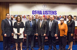 Then-Assistant Secretary Dr. David Michaels, USDOL-OSHA (center) with representatives of ISRI at the alliance signing ceremony on October 19, 2015.