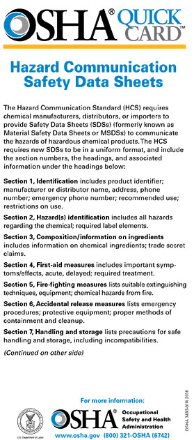 Hazard Communication Safety Data Sheets QuickCard