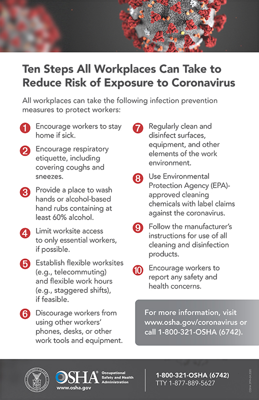 Coronavirus (COVID-19): Ten Steps All Workplaces Can Take to Reduce Risk of Exposure to Coronavirus Poster Poster
