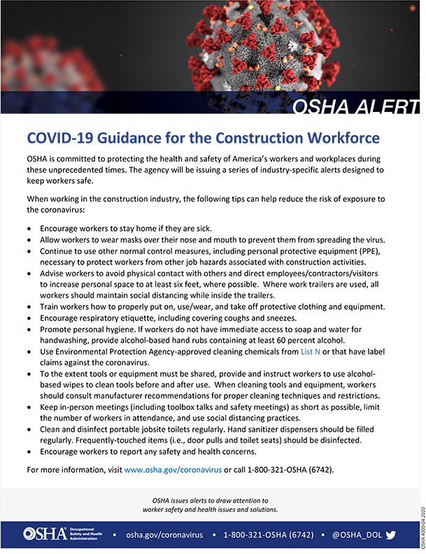 Coronavirus: COVID-19 Guidance for the Construction Workforce: OSHA Alert