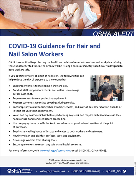 Coronavirus: COVID-19 Guidance for Hair and Nail Salon Workers: OSHA Alert