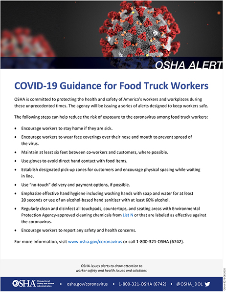 Coronavirus: COVID-19 Guidance for Food Truck Workers: OSHA Alert