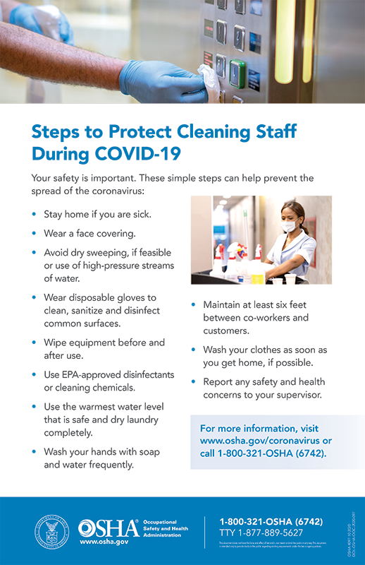Coronavirus: Steps to Protect Cleaning Staff During COVID-19 Poster