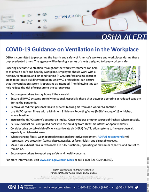 Coronavirus: COVID-19 Guidance on Ventilation in the Workplace: OSHA Alert