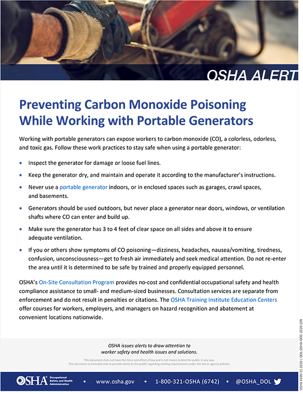 Portable Generators: Preventing Carbon Monoxide Poisoning While Working with Portable Generators: OSHA Alert