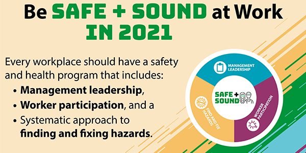 Be Safe + Sound at Work in 2021 - Every workplace should have a safety and health program that includes: management leadership, worker participation and a systematic approach to finding and fixing hazards