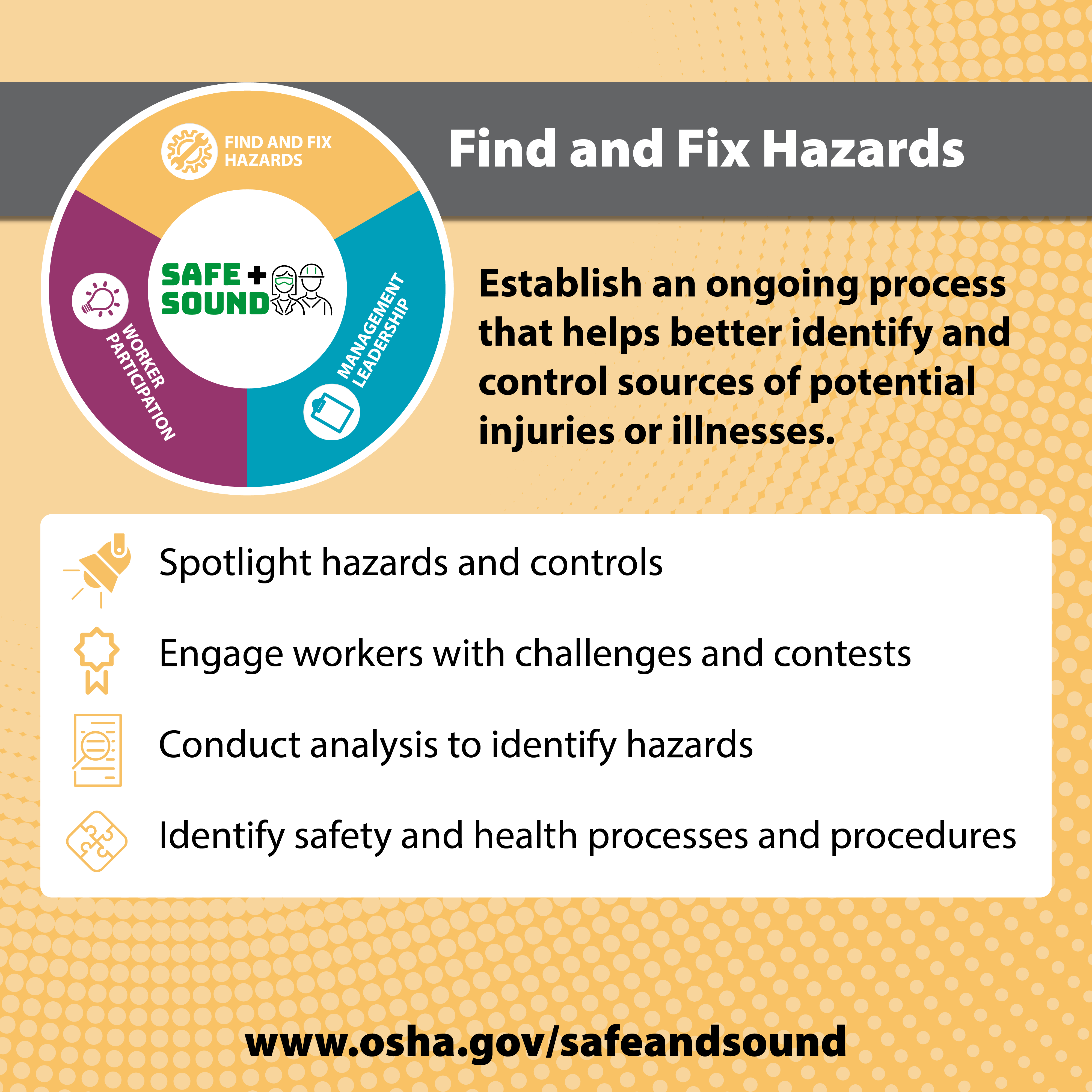 Find and Fix Hazards - Establish an ongoing process that helps better identify and control sources of potential injuries or illnesses.