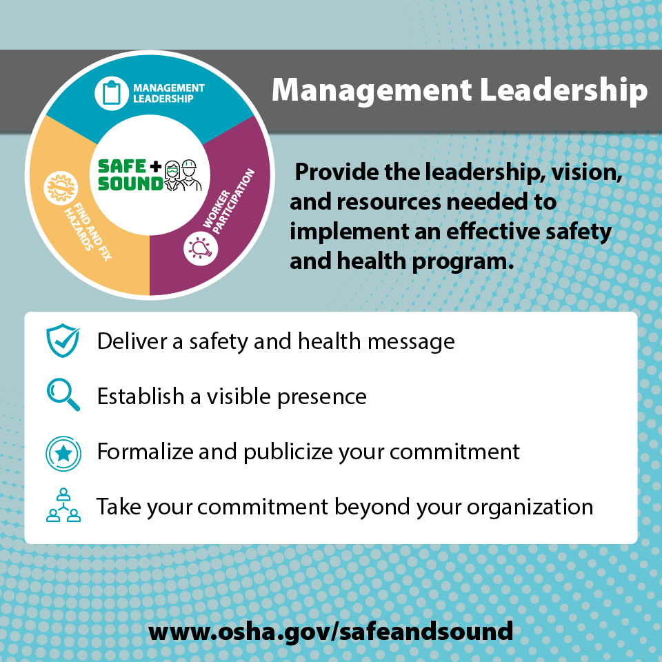 Management Leadership - Provide the leadership, vision, and resources needed to implement and effective safety and health program.