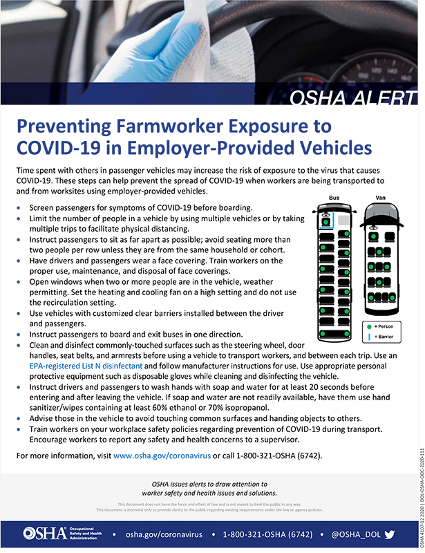 Coronavirus: Preventing Farmworker Exposure to COVID-19 in Employer-Provided Vehicles
