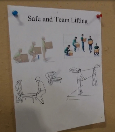 "Figure 2 - photograph of ""Safe and Team Lifting"" visual aid"