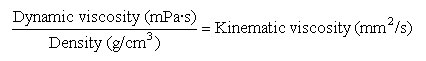 Equation for conversion between dynamic and kinematic viscosity