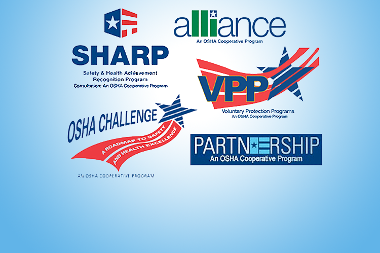 OSHA Cooperative Programs Logos. SHARP, Alliance, OSHA Challenge, VPP, Partnership.